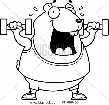 Cartoon Hamster Dumbbells