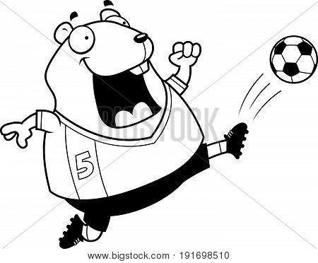 Cartoon Hamster Soccer Kick