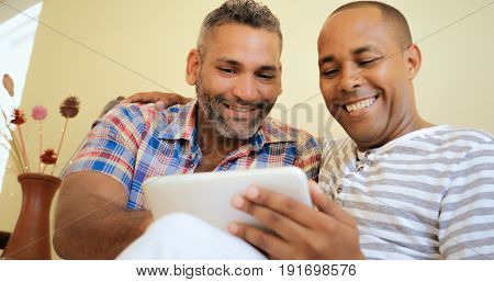 Happy Gay Couple Homosexual People Men Using Computer