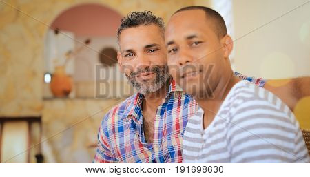Portrait Happy Gay Couple Homosexual Men At Home