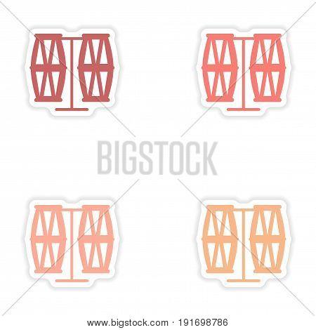 concept stylish paper sticker on white background Brazilian drums