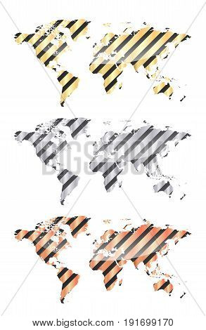 Three vector map of the world from diagonal black and gold silver bronze bands