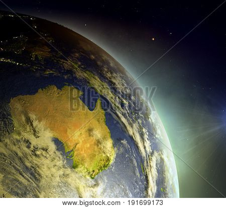 Australia From Space In Sunrise