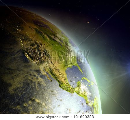 North America From Space In Sunrise