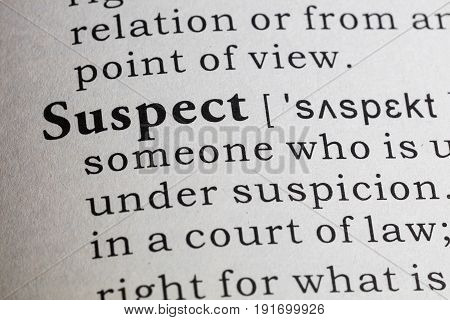 Fake Dictionary Dictionary definition of the word suspect.