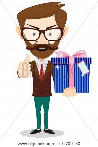 Businessman holding a gift box. Stock flat vector illustration.