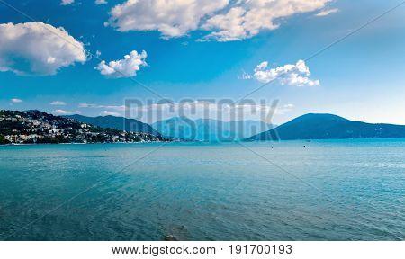 Adriatic sea view near Herceg Novi. Montenegro. Blue tones