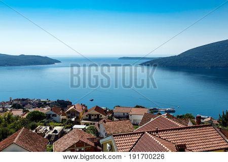 Entrance to beautiful Bay of Kotor, Herceg Novi. Montenegro, the Balkans, Europe