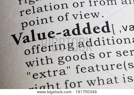 Fake Dictionary, Dictionary definition of value added.