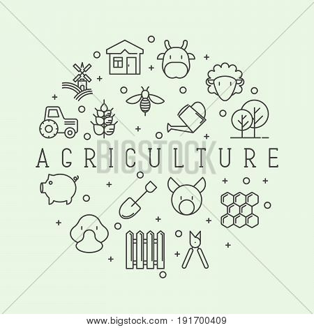 Agriculture concept with different animals, tools and symbols for eco products, farming flyers and banners. Thin line vector illustration.