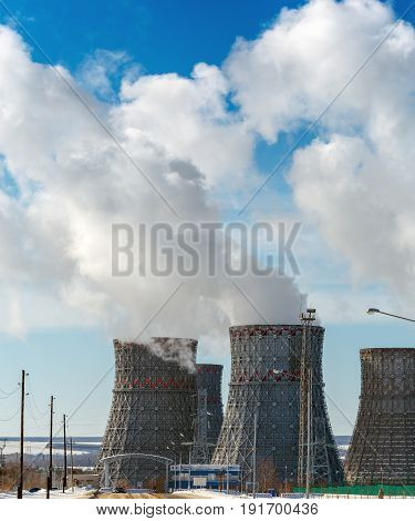 Cooling tower of nuclear power plant, vertical image