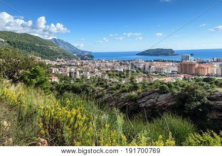 Panoramic landscape of Budva riviera. Balkans, Adriatic sea, Europe. View from the top of the mountain