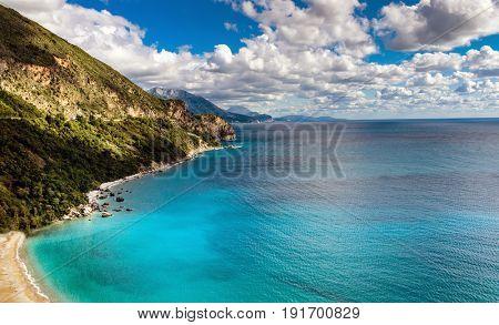 Panoramic landscape in Montenegro. Fantastic view of the overcast sky. Balkans, Adriatic sea, Europe