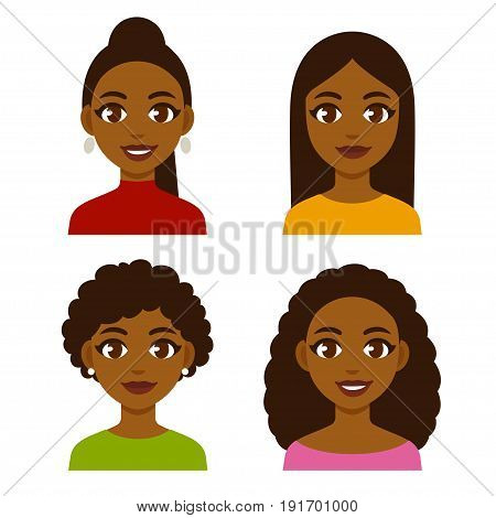 Cute cartoon black girls with natural hairstyles and straightened hair. Pretty African American women faces vector illustration set.