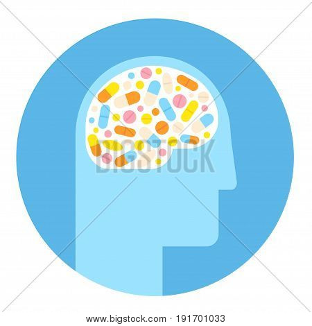 Human head silhouette with brain filled with pills. Mental health medication treatment stimulants and antidepressants.