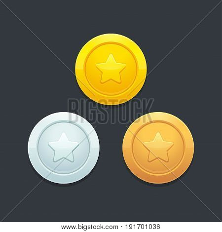 Video game coins or medals set. Gold silver and bronze. Graphic user interface design element vector illustration.