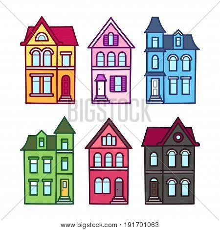 Old Victorian houses vector illustration set. Colorful hand drawn architecture elements.