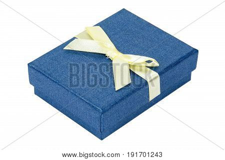 Blue decorative present box with yellow ribbon isolated on white background with clipping path