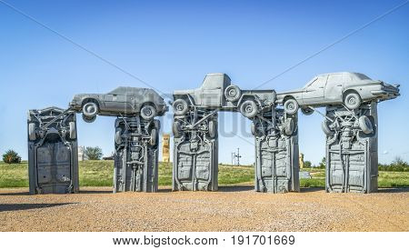 ALLIANCE, NE, USA - MAY 29, 2017:  Carhenge - famous car sculpture  created by Jim Reinders, a modern replica of  England's Stonehenge using old cars.