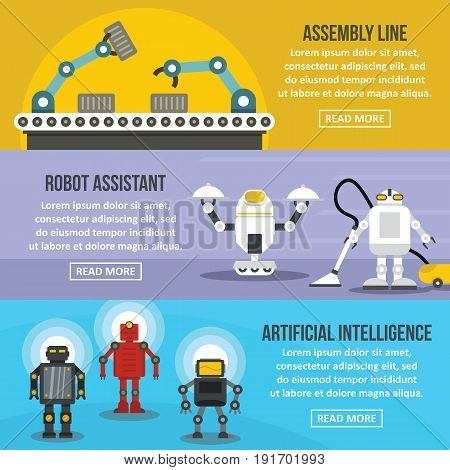 Robot assistant banner horizontal concept set. Flat illustration of 3 robot assistant vector banner horizontal concepts for web