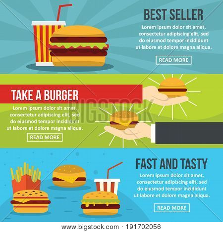 Fastfood tasty banner horizontal concept set. Flat illustration of 3 fastfood tasty vector banner horizontal concepts for web