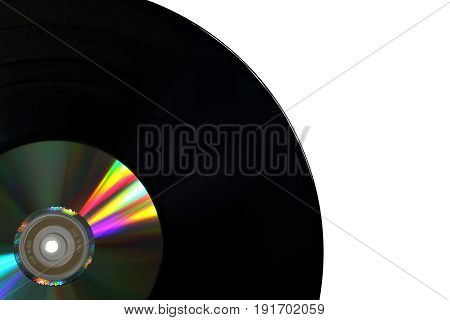 Vinyl Record with Compact Disk Isolated on a White Background