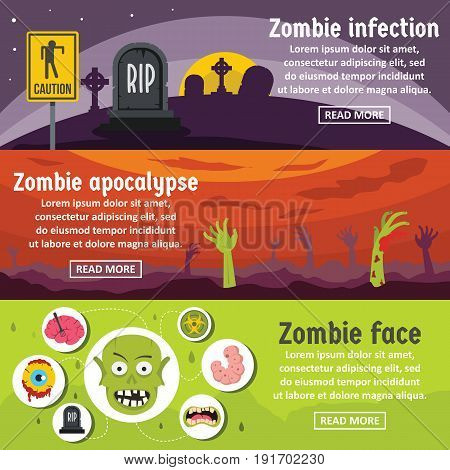 Zombie coming banner horizontal concept set. Flat illustration of 3 zombie coming vector banner horizontal concepts for web