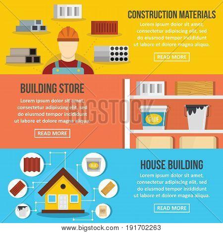 Building store banner horizontal concept set. Flat illustration of 3 building store vector banner horizontal concepts for web