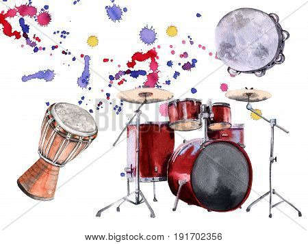 Musical percussion instruments. Isolated on white background. Watercolor illustration