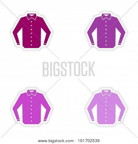 Set of paper stickers on white background shirt