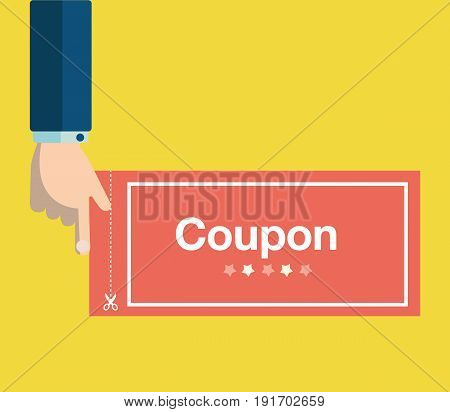 Business hand holding red coupon vector.Discount coupon concept