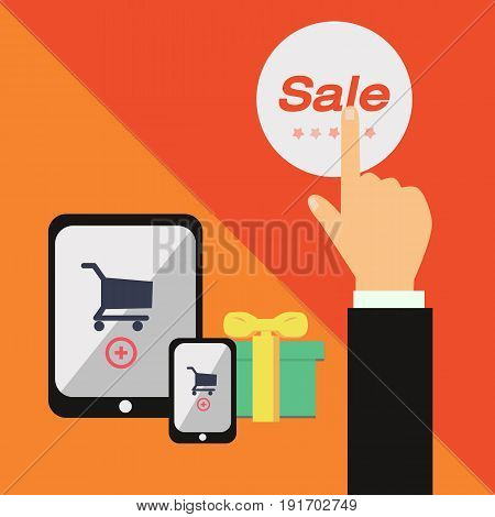 Business hand push on sale label with mobile commerce and orange background