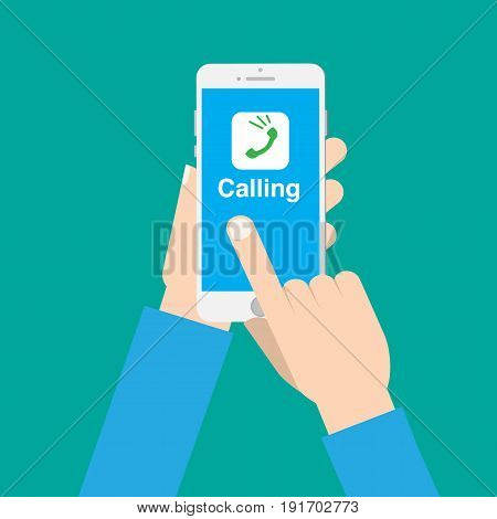 Hands use call application on phone with isolated background vector