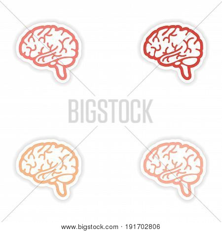 Set of paper stickers on white background human brain