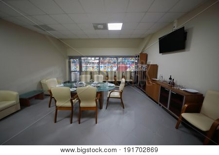 MOSCOW - APR 7, 2017: Referee meeting room with served table in Megasport stadium, construction of the stadium was completed in 2006, number of seats is 14 thousand