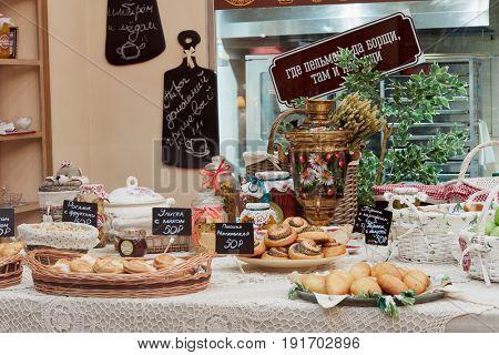 MOSCOW, RUSSIA - APR 25, 2017: Assortment of bakery goods in restaurant Pelmeni Da Borschi. Restaurant is located on Arbat street and offers Rissian cuisine.