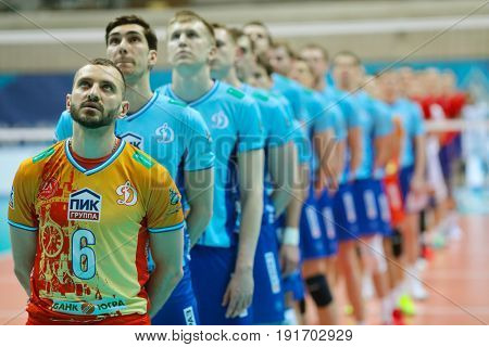 MOSCOW - APR 8, 2017: Teams prepare for game of Russian Volleyball Championship Dynamo (Moscow) - Nova (Novokuibyshevsk) in Palace of Sports Dynamo