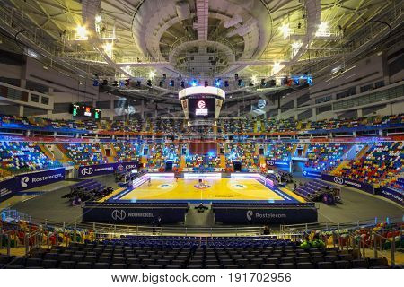 MOSCOW - APR 7, 2017: Basketball court and grandstands in Megasport stadium, construction of stadium was completed in 2006, number of seats is 14 thousand