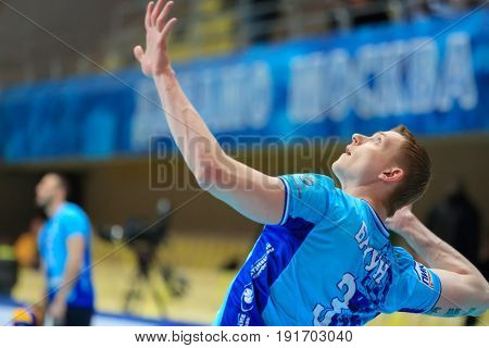 MOSCOW - APR 8, 2017: Player Bakun during Match of Russian Volleyball Championship Dynamo (Moscow) - Nova (Novokuibyshevsk) in Palace of Sports Dynamo
