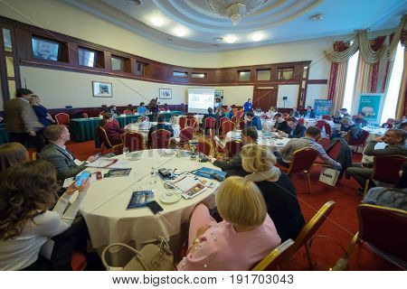 MOSCOW - APR 20, 2017: Participants of practical business conference Second breath of real estate market in Moscow business club in Congress-park Volynskoe