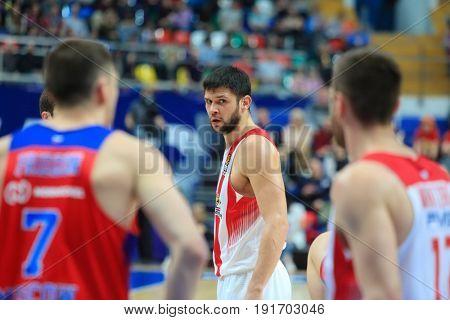 MOSCOW - APR 7, 2017: Men at basketball game Euroleague CSKA Moscow (Russia) - Olympiakos (Greece) in Megasport stadium