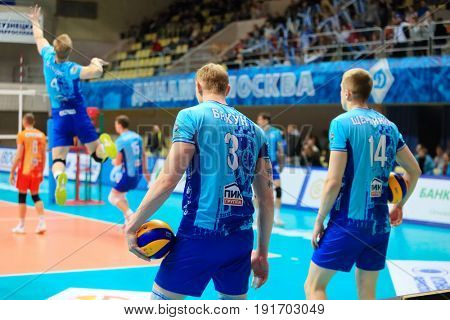 MOSCOW - APR 8, 2017: Players at game of Russian Volleyball Championship Dynamo (Moscow) - Nova (Novokuibyshevsk) in Palace of Sports Dynamo