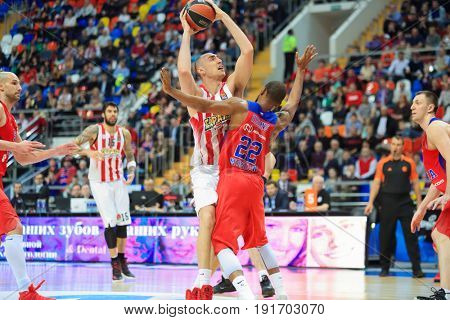 MOSCOW - APR 7, 2017: Attack of ring at basketball game Euroleague CSKA Moscow (Russia) - Olympiakos (Greece) in Megasport stadium