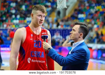 MOSCOW - APR 7, 2017: Interview with Andrey Vorontsevich (CSKA) at basketball game Euroleague CSKA Moscow (Russia) - Olympiakos (Greece) in Megasport stadium