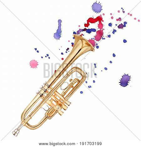Musical instruments. Trumpet. Isolated on white background. Watercolor illustration