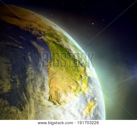 Africa From Space In Sunrise
