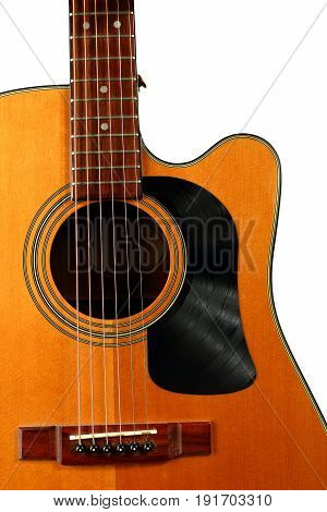 Acoustic Guitar With Vinyl Record For A Pick Guard