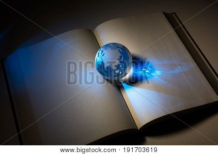 globe and book business and education concept