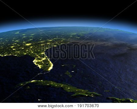 Cuba And Florida At Night