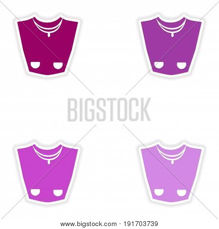 concept stylish paper sticker on white background necklace